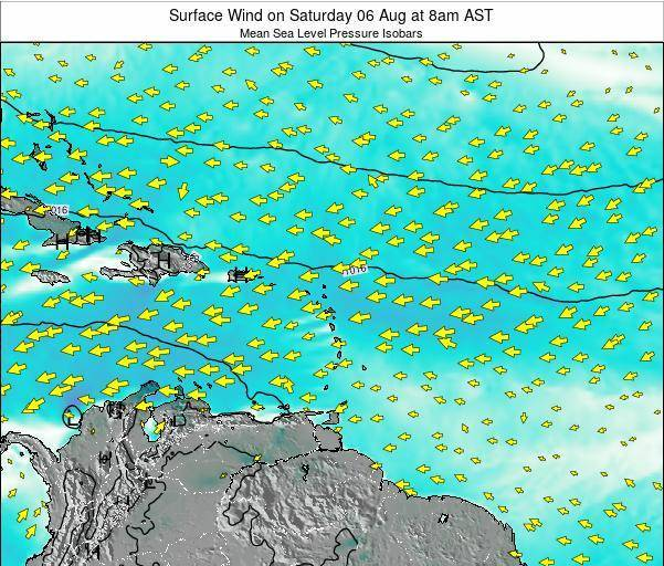 Saint Lucia Surface Wind on Sunday 27 Jul at 8am AST