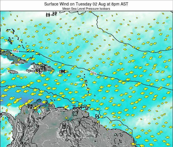 Saint Lucia Surface Wind on Monday 20 May at 2am AST