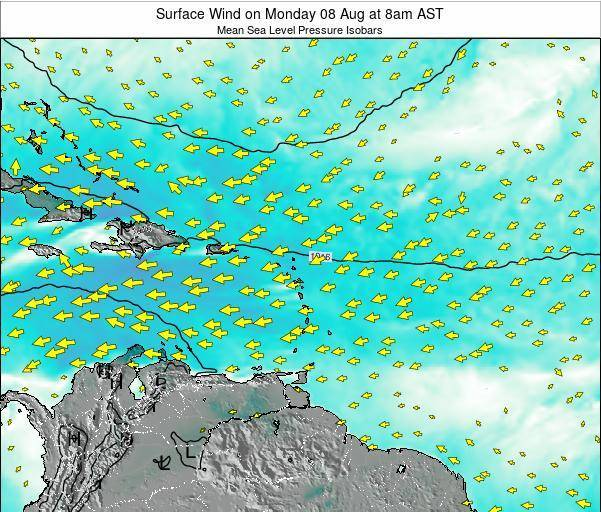 Saint Lucia Surface Wind on Wednesday 03 Sep at 8pm AST