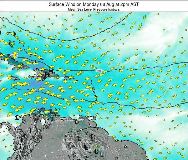 Saint Lucia Surface Wind on Friday 01 Aug at 8am AST