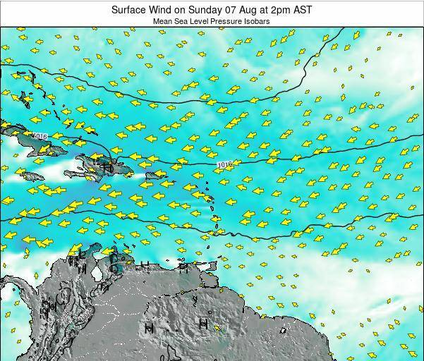 Saint Lucia Surface Wind on Sunday 02 Nov at 2pm AST