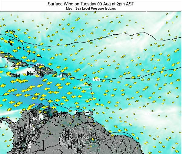 Saint Lucia Surface Wind on Sunday 26 May at 2pm AST
