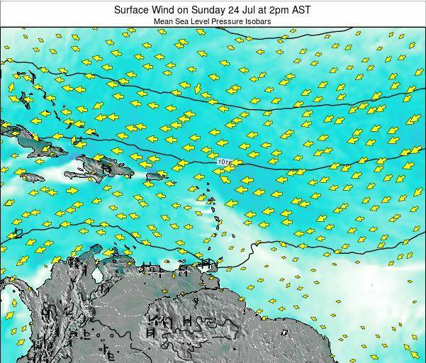US Virgin Islands Surface Wind on Saturday 18 May at 8pm AST