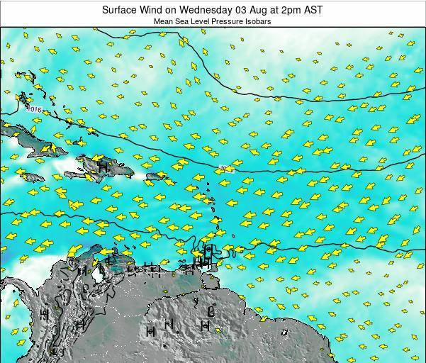 Barbados Surface Wind on Monday 20 May at 2pm AST
