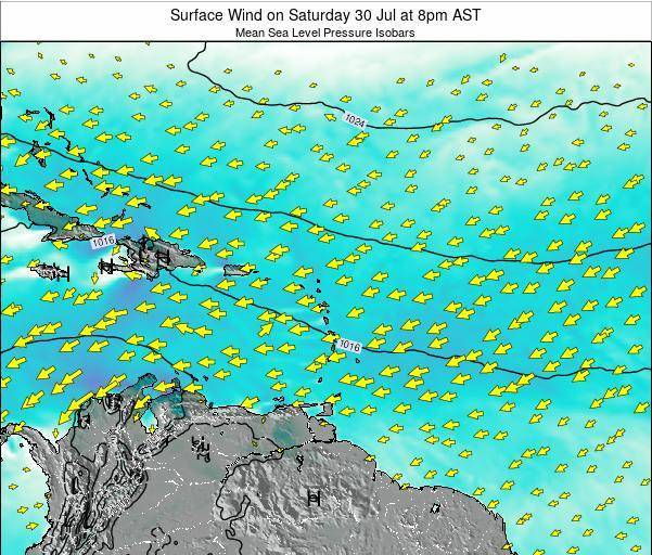Saint Lucia Surface Wind on Wednesday 22 May at 8pm AST
