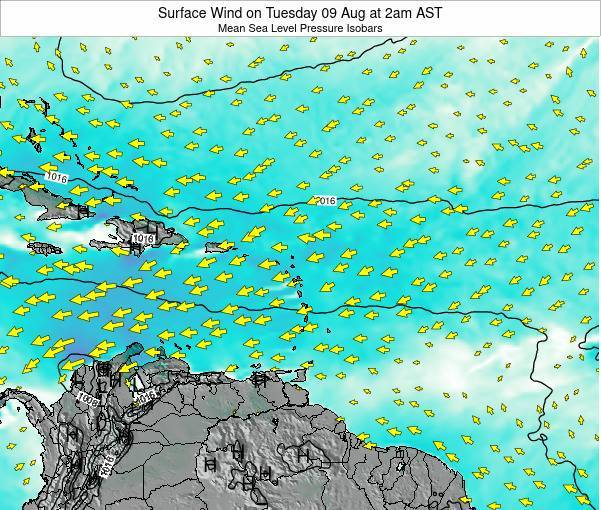 Saint Lucia Surface Wind on Thursday 06 Mar at 8pm AST