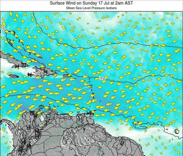 Saint Lucia Surface Wind on Wednesday 30 Jul at 8pm AST