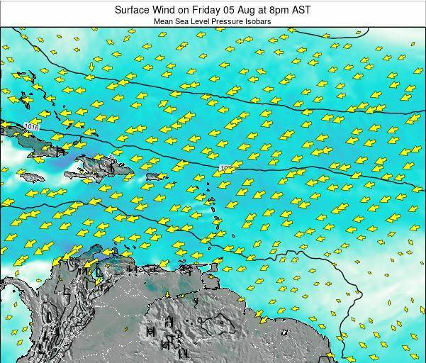 Saint Lucia Surface Wind on Sunday 20 Apr at 8pm AST