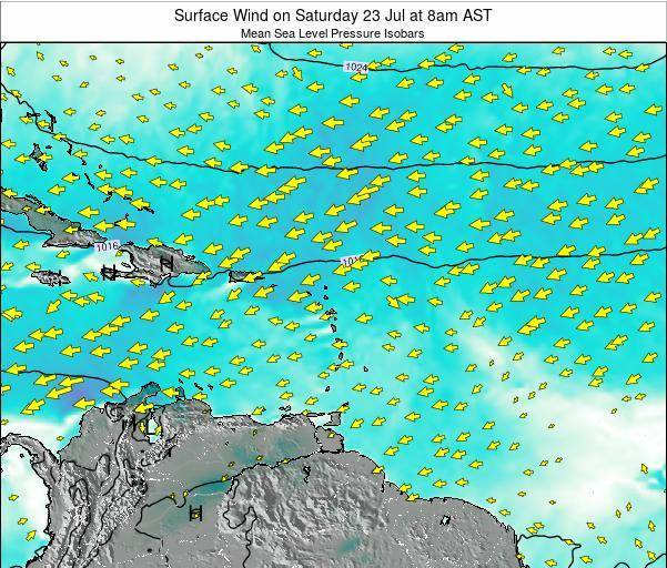 Saint Lucia Surface Wind on Tuesday 22 Jul at 8pm AST