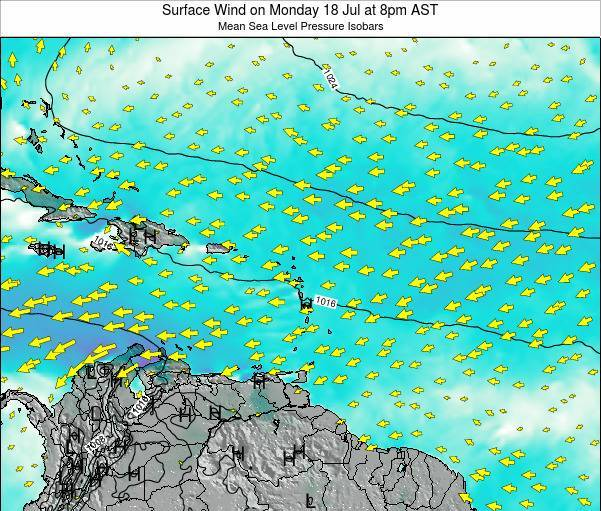 Saint Lucia Surface Wind on Sunday 19 May at 2pm AST