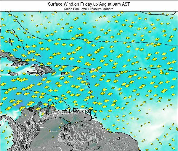 Saint Lucia Surface Wind on Friday 13 Dec at 8am AST