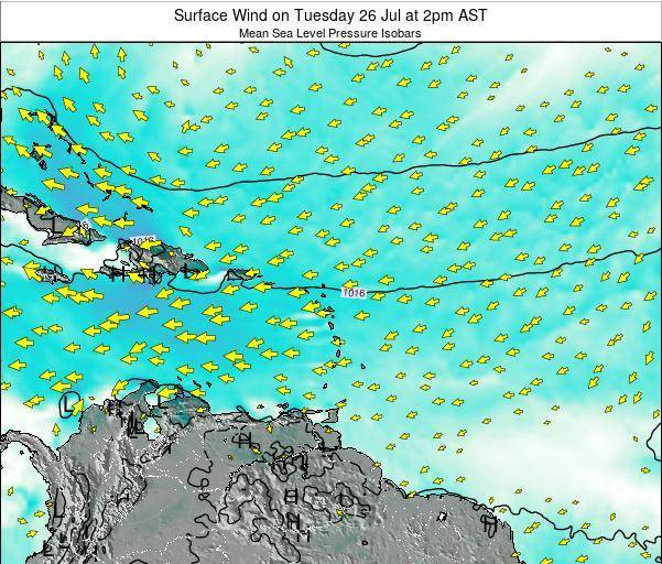Guadeloupe Surface Wind on Tuesday 21 May at 8am AST