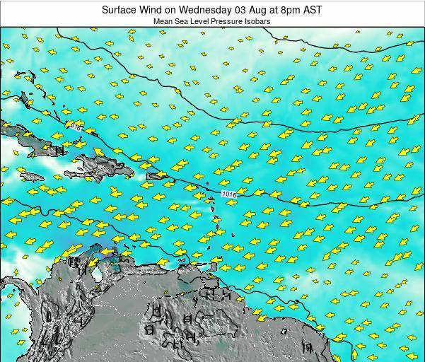 Anguilla Surface Wind on Friday 01 Aug at 8am AST map