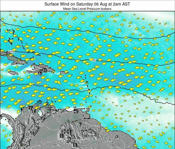 Anguilla Surface Wind on Saturday 07 Dec at 8pm AST map