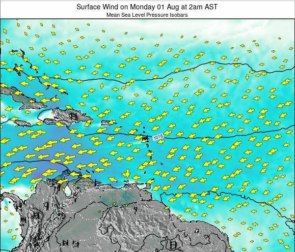 Anguilla Surface Wind on Sunday 27 Jul at 2pm AST map