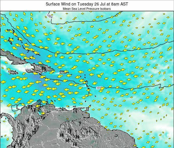 Saint Lucia Surface Wind on Friday 12 Feb at 2pm AST