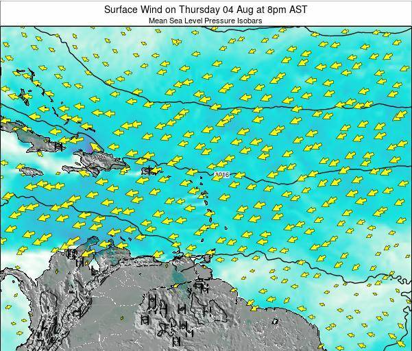 Saint Lucia Surface Wind on Tuesday 26 Jul at 2pm AST