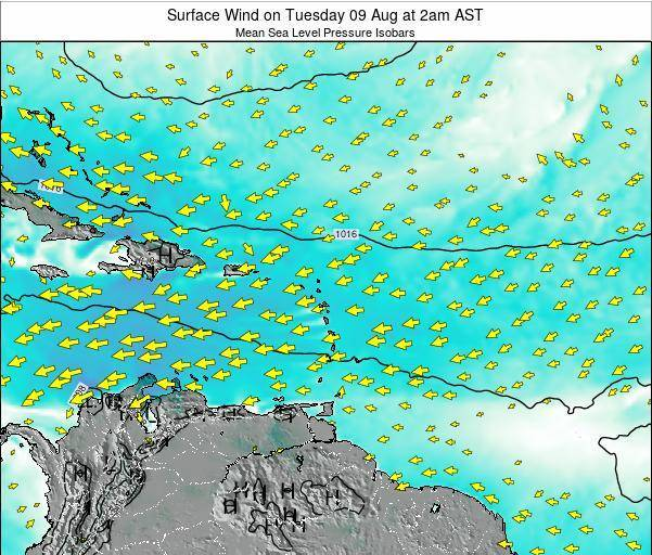 Saint Lucia Surface Wind on Saturday 02 Aug at 8pm AST