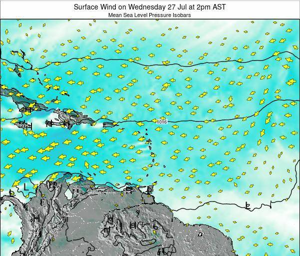 Saint Lucia Surface Wind on Thursday 30 Apr at 2pm AST