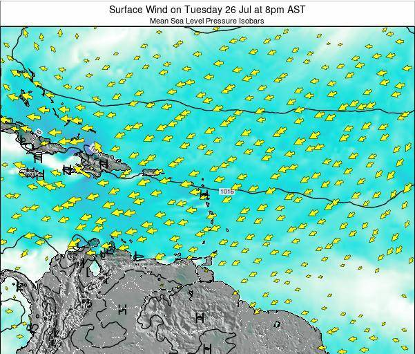 Saint Lucia Surface Wind on Friday 25 Apr at 8am AST