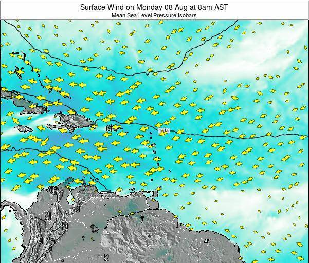 Saint Lucia Surface Wind on Sunday 05 Jul at 8am AST