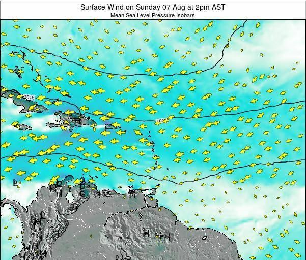 Saint Lucia Surface Wind on Tuesday 22 Aug at 8pm AST