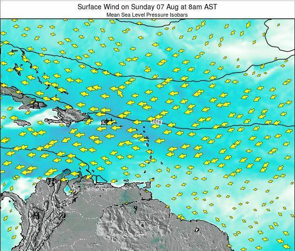 Saint Lucia Surface Wind on Thursday 13 Mar at 2am AST