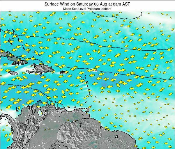 Saint Lucia Surface Wind on Monday 20 May at 8pm AST