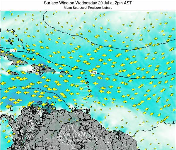 Saint Lucia Surface Wind on Thursday 21 Feb at 8am AST map
