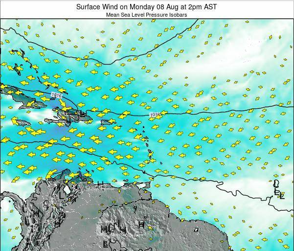 British Virgin Islands Surface Wind on Monday 21 Apr at 8am AST