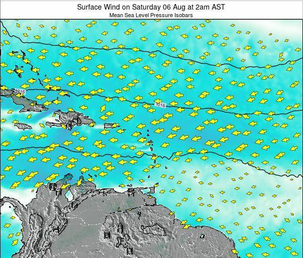 British Virgin Islands Surface Wind on Monday 10 Mar at 8am AST