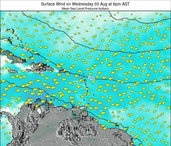 Anguilla Surface Wind on Thursday 23 May at 8pm AST map