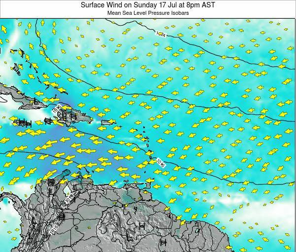 British Virgin Islands Surface Wind on Tuesday 24 Oct at 2pm AST