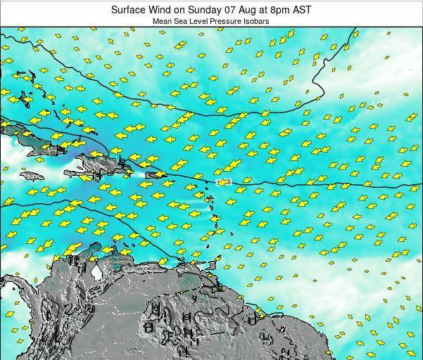 British Virgin Islands Surface Wind on Tuesday 04 Aug at 8am AST