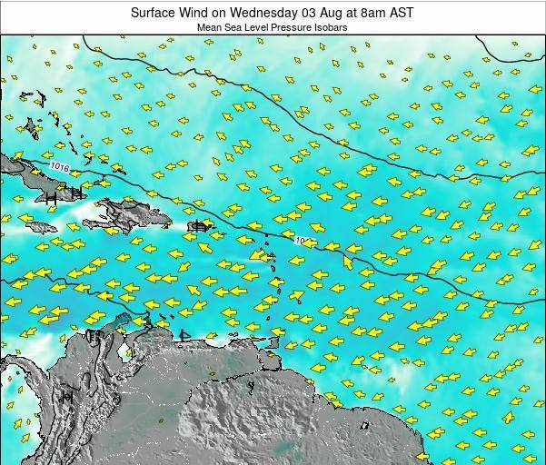 British Virgin Islands Surface Wind on Saturday 07 Dec at 2pm AST