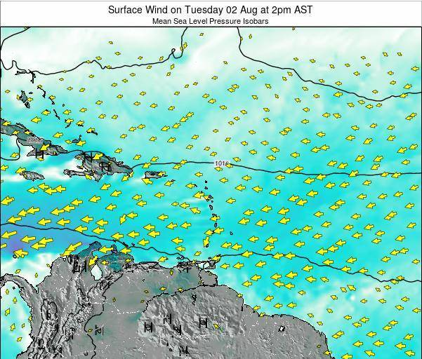 British Virgin Islands Surface Wind on Monday 01 Jun at 2pm AST