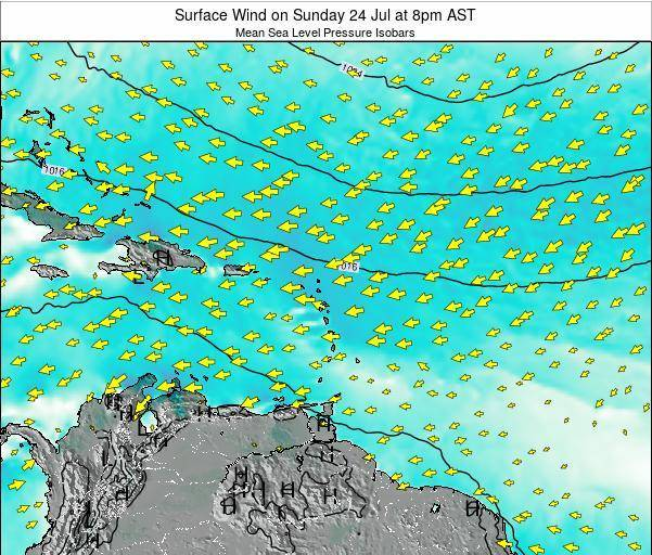 Saint Lucia Surface Wind on Friday 24 May at 8am AST