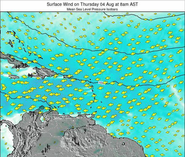Dominican Republic Surface Wind on Friday 24 May at 8am AST map
