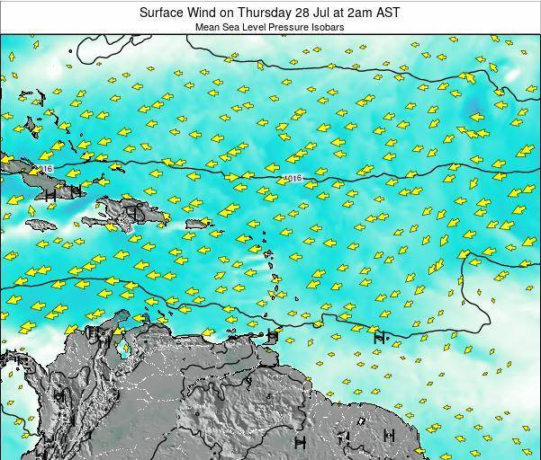 Saint Lucia Surface Wind on Friday 28 Sep at 8pm AST map