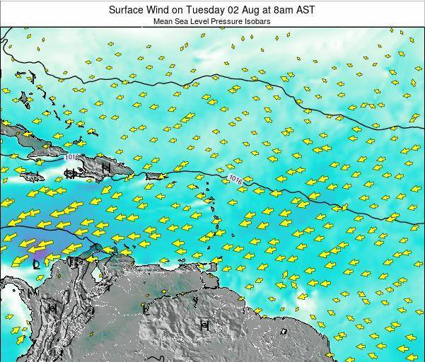 Saint Lucia Surface Wind on Monday 17 Dec at 2pm AST map