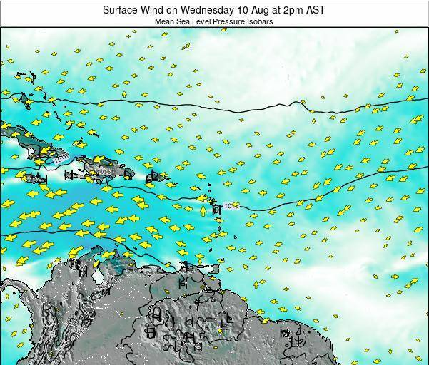 Guadeloupe Surface Wind on Saturday 25 May at 2pm AST