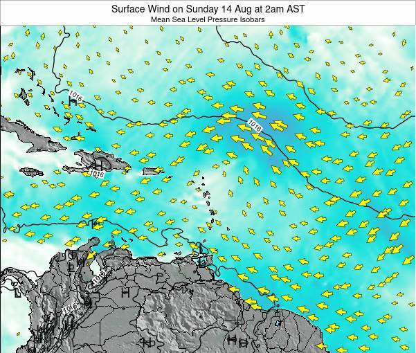 Anguilla Surface Wind on Saturday 25 May at 8pm AST map