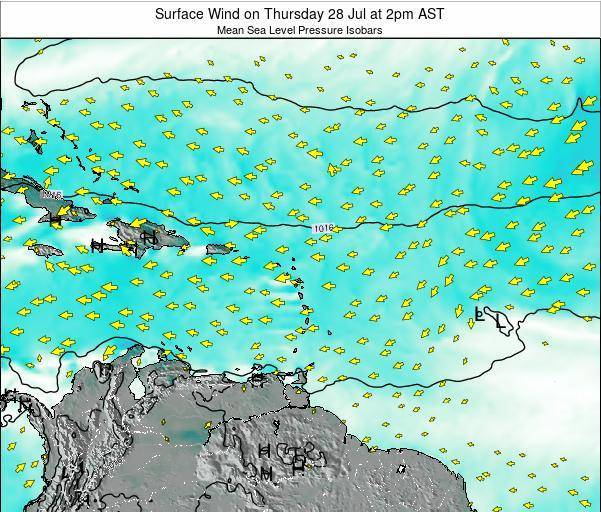 British Virgin Islands Surface Wind on Monday 12 Oct at 2am AST