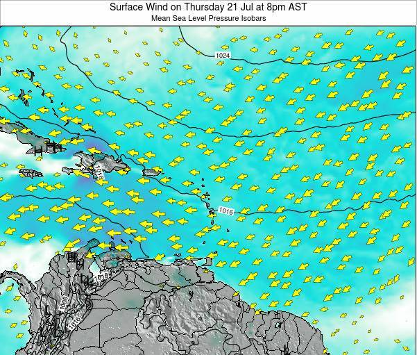 British Virgin Islands Surface Wind on Saturday 26 Jul at 2pm AST