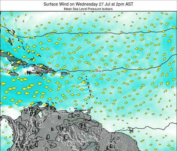 Saint Lucia Surface Wind on Monday 27 May at 2pm AST
