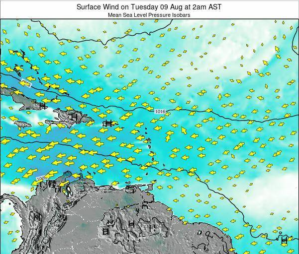 Saint Lucia Surface Wind on Saturday 14 Dec at 2am AST