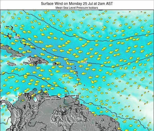 Saint Lucia Surface Wind on Wednesday 07 Dec at 8am AST