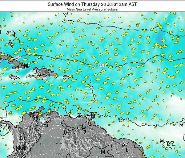 Saint Lucia Surface Wind on Friday 01 Aug at 2pm AST
