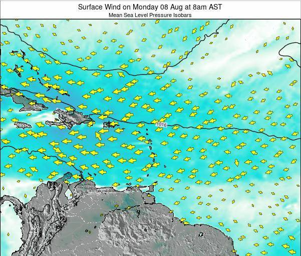 Saint Lucia Surface Wind on Saturday 04 Oct at 8am AST