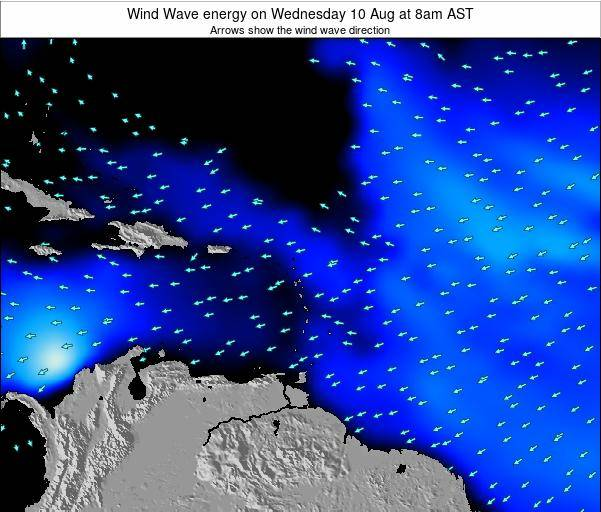 Saint Lucia Wind Wave energy on Tuesday 26 Feb at 2pm AST map